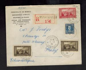 1938 Monaco Registered Cover to Czechoslovakia Ministery of Finance # 124
