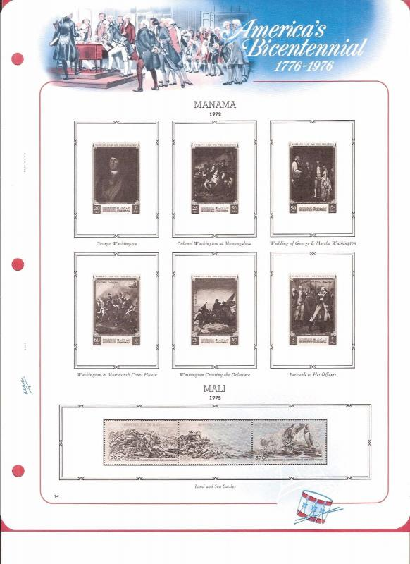 White Ace Historical Stamp Album Pages Foreign American