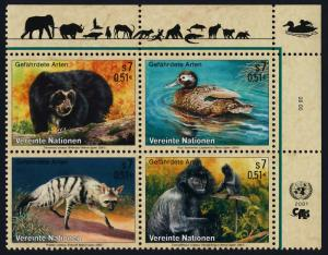 United Nations - Vienna 287a TR Block MNH Bear, Duck, Aardwolf, Monkey