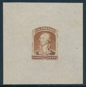 #72-E5g 90c 1861 COMP DESIGN DIE ESSAY ORANGE BROWN ON BOND XF-SUPERB HW5872