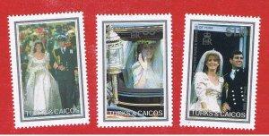 Turks & Caicos Islands #715-717  MVFLH OG  Wedding   Free S/H