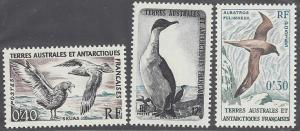 French Southern & Antarctic Territory, #12-14 MNH set, various Antarctic birds