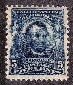 US 304 5c Lincoln Mint VF+ OG PH SCV $60