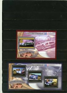 GUINEA 2012 AMERICAN CARS SHEET OF 3 STAMPS & S/S MNH