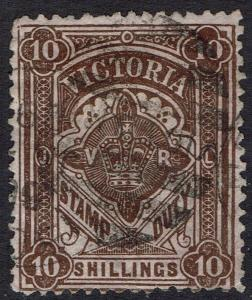 VICTORIA 1884 VR CROWN STAMP DUTY 10/- POSTALLY USED