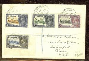 GIBRALTAR (P2110B) SILVER JUBILEE SET ON REG COVER TO USA