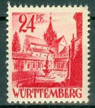 Germany - French Occupation - Wurttemberg - Scott 8N8 (SP)
