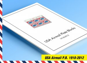 COLOR PRINTED USA AIRMAIL PLATE BLOCKS 1918-2012 STAMP ALBUM PAGES (50 il pages)