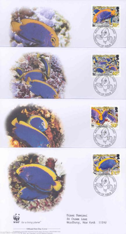 WORLD WILDLIFE FUND 2007 ASCENSION ISLAND  SET OF FOUR FIRST DAY COVERS