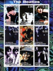 Tajikistan 2000  THE BEATLES MUSIC -  Sheetlet (9) MNH