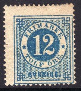 1872-74 Sweden Numeral of Value 12o perf 14 MOG remnant Sc# 22 CV $225.00