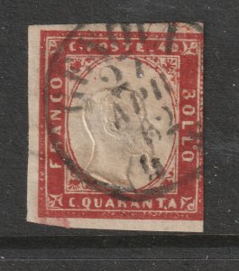 Sardinia a 40c imperf used from 1855