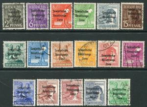 GERMANY Soviet Zone-1948 Full Set Sg R1-R17 FINE USED V20035