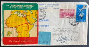 1963 Ethiopia Airmail Cover To Chicago IL USA Pilot Signed Ethiopian Airways Cac