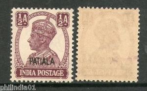 India PATIALA State ½As KG VI Postage SG 104 / Sc 103 Cat. £4 MNH Fine