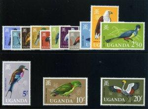 Uganda 1965 QEII Birds set complete superb MNH. SG 113-126. Sc 97-110.