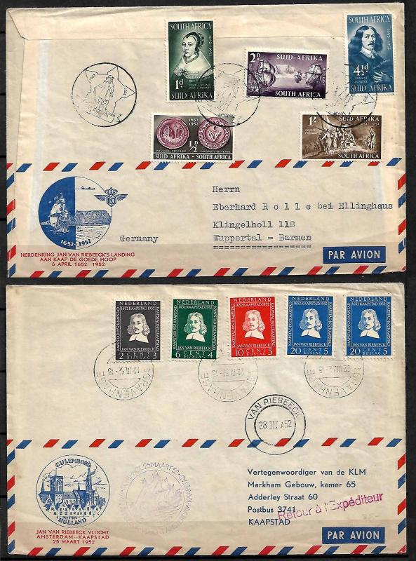 SOUTH AFRICA-NETHERLANDS ISSUE VAN RIEBEECK SPECIAL KLM FLIGHT. FD COVER 1952