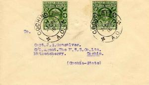 Indian States Cochin 4p Sir Rama Varma III (2) c1942 Cochin City, A.O. to Mat...