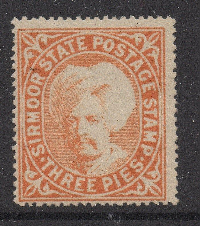 INDIA;   SIRMOOR 1885-95 early Shamsher issue Mint unused 3p. value