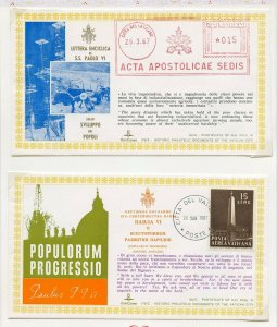 VATICAN CITY LOT I OF TWO SPECIAL CANCEL POPE PAUL VI COVERS