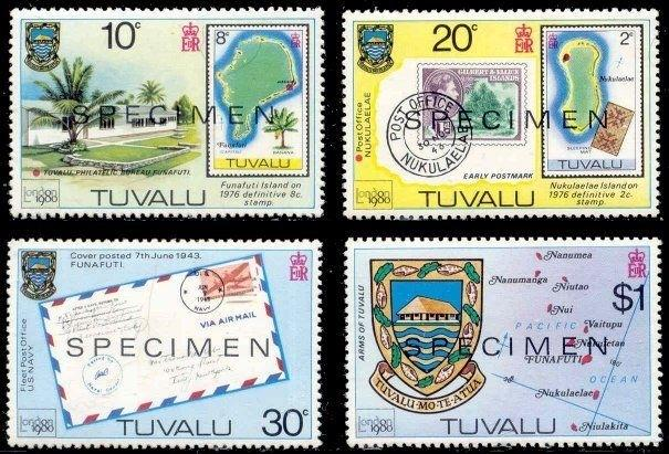 Tuvalu 1980 London Stamp Expo  w/ SPECIMEN Ovpt (Scott # 433-436)