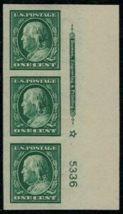 MALACK 343 SUPERB JUMBO OG NH, Plate Strip of 3, WOW! gg0767
