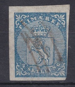 ROW228) Norway 1855 4s blue SG1 with four margins, three huge and one close