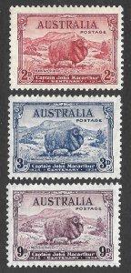 Doyle's_Stamps: 1934 XF++ Australian John MacAurthur Set Scott  #147* to #149*