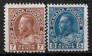 COLLECTION LOT OF # 114-5 CANADA 1924-5 UNUSED NO GUM CV = $60