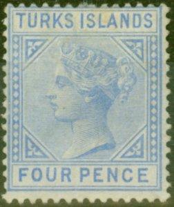Turks & Caicos Is 1881 4d Ultramarine SG50 Good Mtd Mint