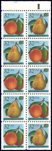 PCBstamps  US #2487/2488a Bk Pane $3.20(10x32c)Peaches/Pears, MNH, (3)