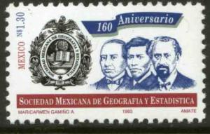 MEXICO 1813, 160th Anniv Mexican Soc of Geography & Statistics. MINT, NH. VF.