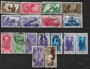 COLLECTION LOT OF 17 ITALY STAMPS 1932+ CV+$43