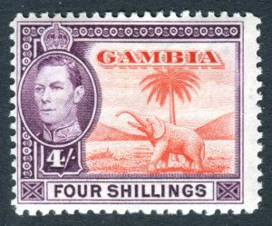 Gambia 1938 KGVI. 4s vermilion & purple. Mint. LH. SG159.