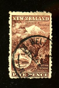 New Zealand #77 Used F-VF Corner Crease sht perfs Cat $ 225.00