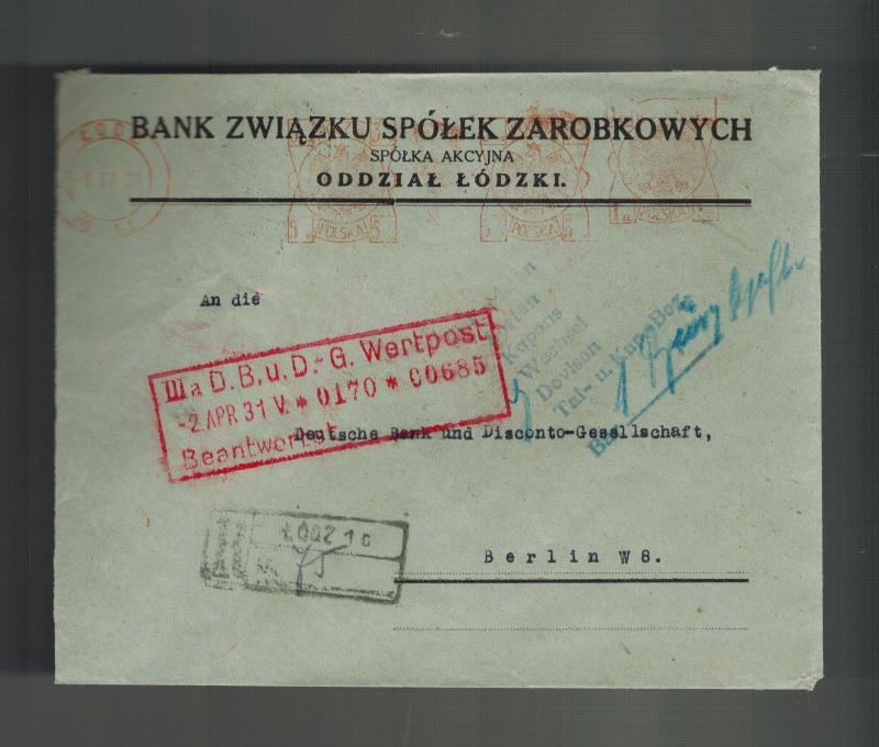 Bank 3 Meter.1931 Lodz Poland Bank Meter Registered Cover To Deutsche Bank Berlin