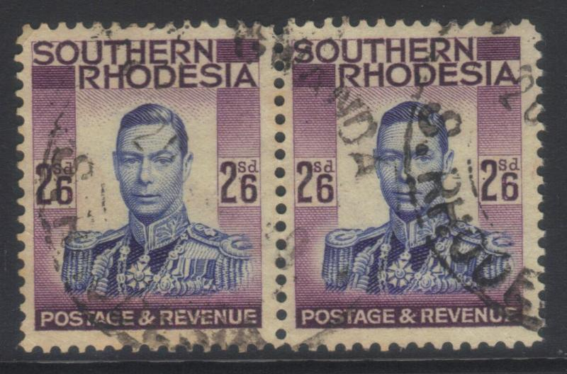 SOUTHERN RHODESIA 1937 DEFINS SG51 USED PAIR CAT £17