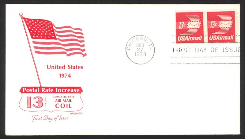 USA Sc# C83 (Artmaster) FDC pair (a) (Chicago  IL) 1973 12.27 13c Air Mail Coil