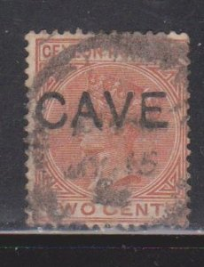 CEYLON Scott # 87 Used - QV With CAVE Overprint - Anti-theft
