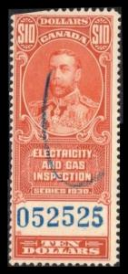 CANADA REVENUE TAX 1930 $10 #FEG7 SCARCE ELECTRIC & GAS INSPECTION STAMP C SCAN