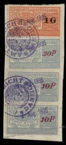 Danzig Poland Germany 1G 20P 10P Gerichtskostenmarke Court Fee Revenue Sta 90959
