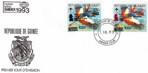 Guinea 1993  World Chess Championship/Scouts ovpt.Black and Red (2) FDC