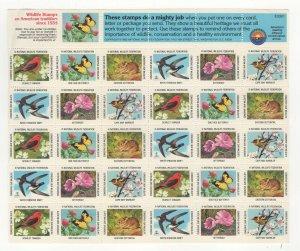 USA National Wildlife Federation Spring Stamps 1983 Sheet of 30 MNH