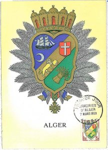 38750  - Algeria - POSTAL HISTORY - MAXIMUM CARD 1959 - Heraldry LIONS - SHIPS