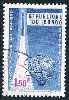 Congo DR 522 Used Rocket and Unisphere (BP3813)