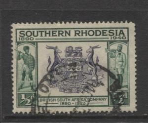 Southern Rhodesia- Scott 56- Seal of BSA -1940 - FU - Single 1/2d Stamp