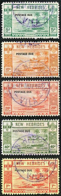 New Hebrides SGD6/D10 1938 Post Due Set of 5 Fine Used