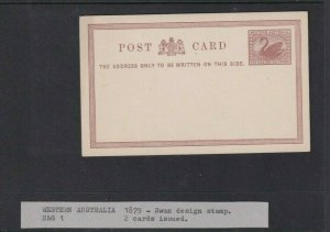 WESTERN AUSTRALIA POSTAL STATIONARY CARD UNUSED 1/2D 1879