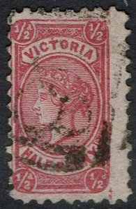 VICTORIA 1878 QV 1/2D ON PINK EMERGENCY PAPER USED