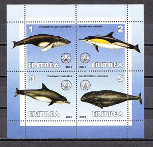 Eritrea, 2001 Cinderella issue. Whales & Dolphins on a sheet of 4. ^
